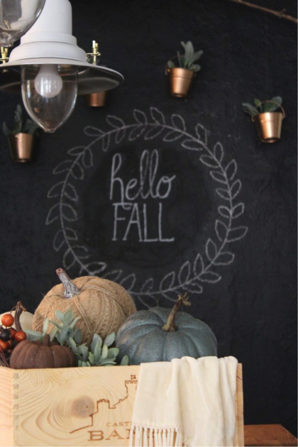 What Are Your Thoughts On This Chalkboard Wall With Hanging Copper  Planters? Would You Try It Out In Your Own Home?