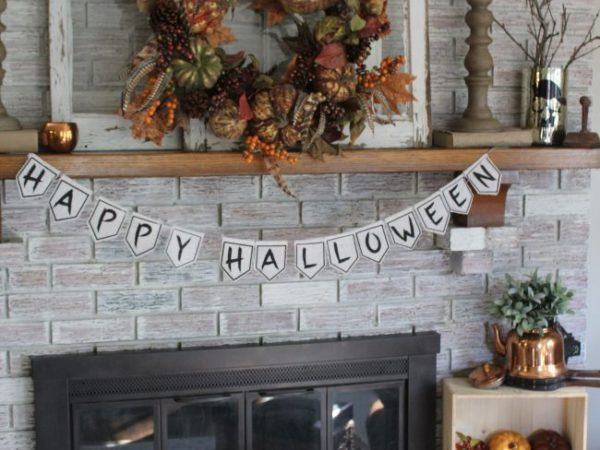 Fall Mantel with Copper Accents