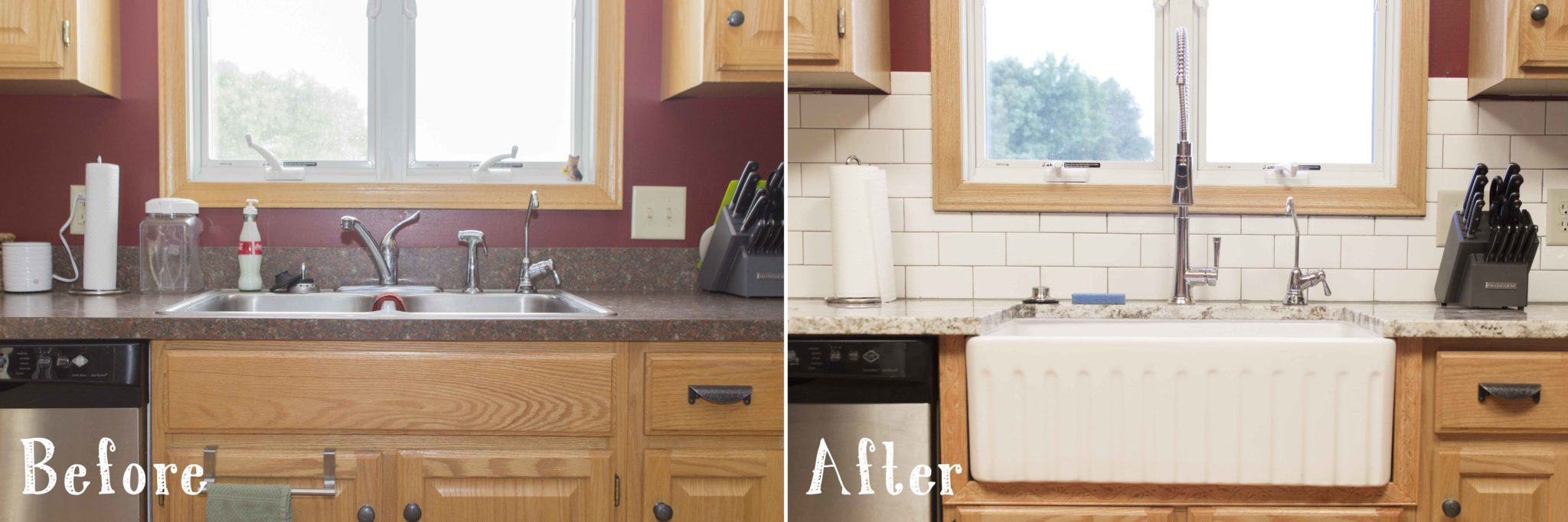 in addition to the fireclay sink they made several other updates to help brighten the space installing a farmhouse sink into a space that previously had a