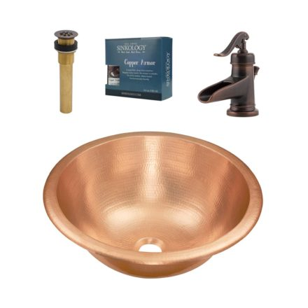 Sinkology SB303-16AG-F040 Copernicus 16 All-in-One Copper Sink Design Kit with Pfister Vessel Faucet and Drain in Rustic Bronze