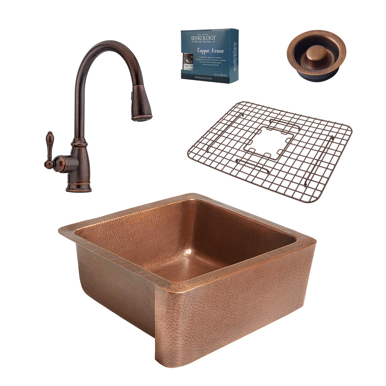 Phenomenal Monet Copper Farmhouse Kitchen Sink Kit By Sinkology Interior Design Ideas Gentotryabchikinfo