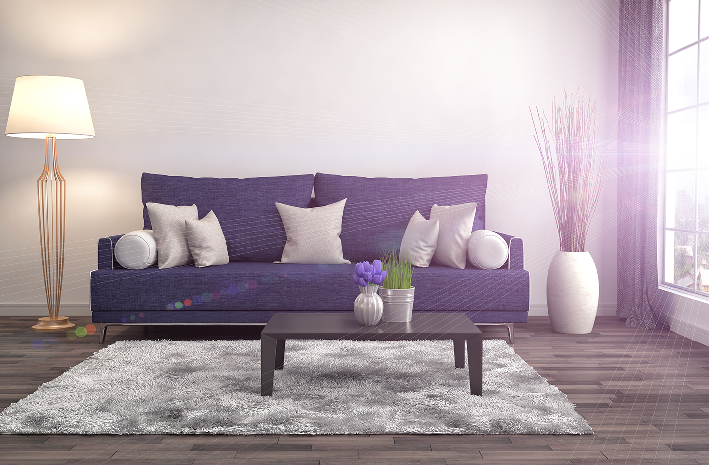 purple interior with sofa