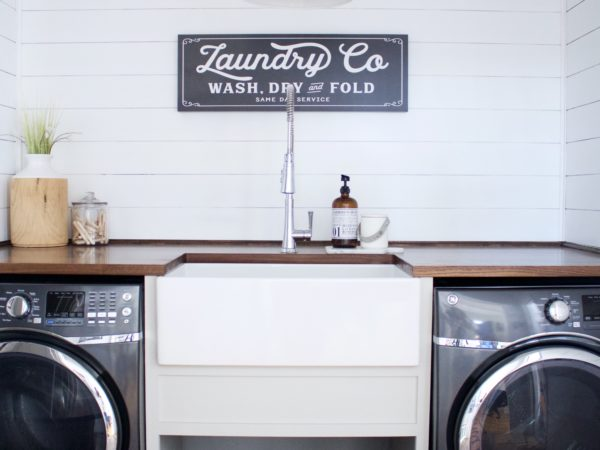 Laundry Room with Bradstreet II Fireclay Sink Before & After