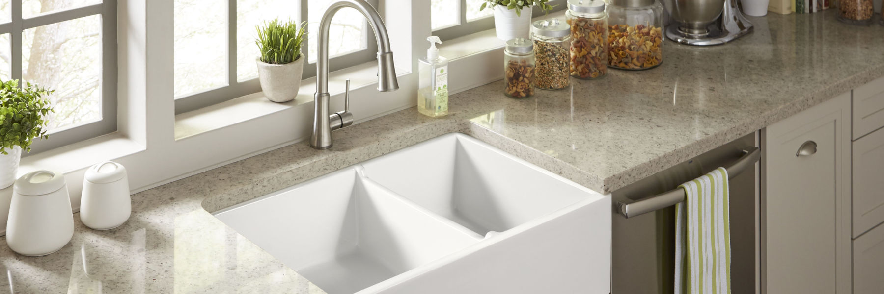 Fireclay Farmhouse Kitchen Sink White Brooks