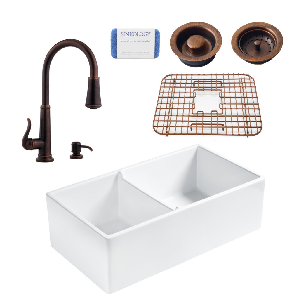 Brooks All-In-One Fireclay Kitchen Sink and Bronze Ashfield Faucet Kit
