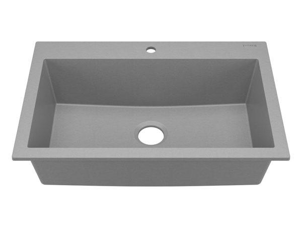 sinkology granite kitchen sink angle photo