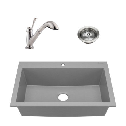 sinkology granite composite kitchen sink kit with drain