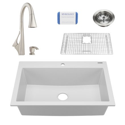 white granite single bowl kitchen sink, faucet, grid, scrubber, and strainer drain