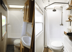 before & after rv bathroom