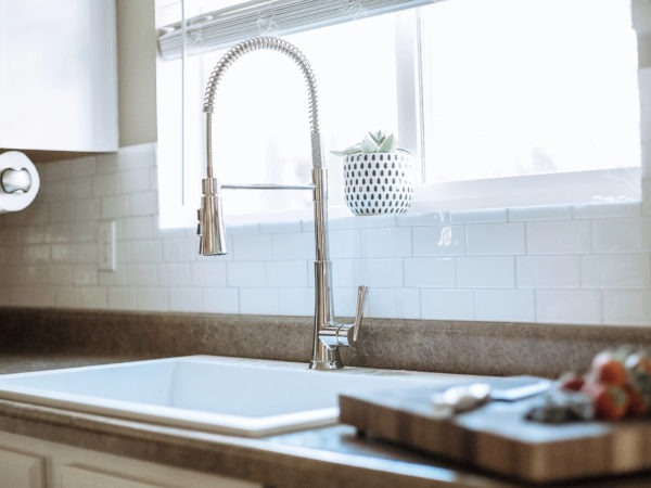 close up shot of sink and faucet
