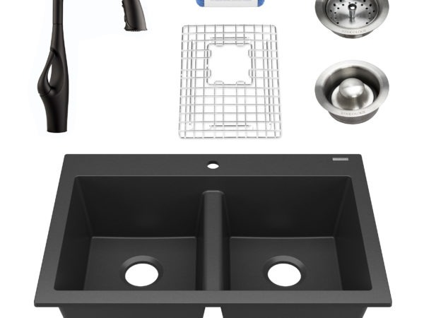black granite double bowl kitchen sink, faucet, grid, drains, and scrubber