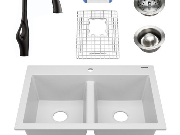 white granite double bowl kitchen sink, faucet, grid, drains, and scrubber