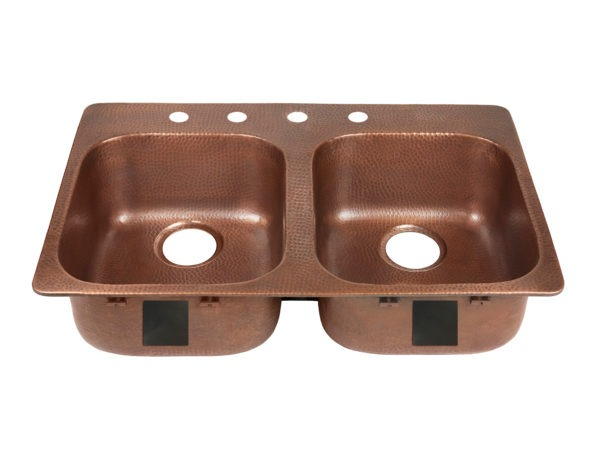 double bowl copper kitchen sink, rear drains, and four faucet holes left side