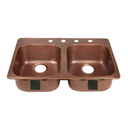 double bowl copper kitchen sink, rear drains, and four faucet holes right side