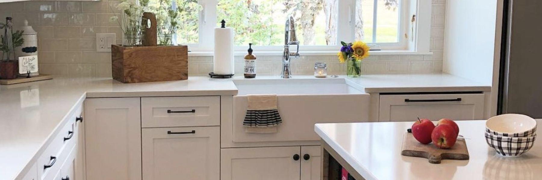 farmhouse kitchen view of the sink