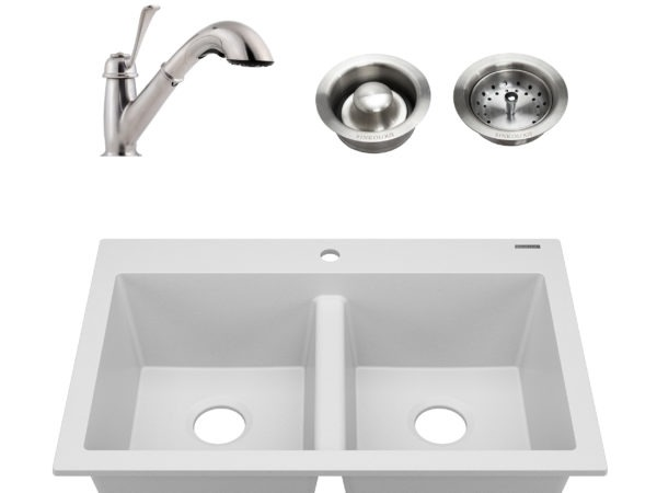 white granite double bowl kitchen sink, faucet, and drains