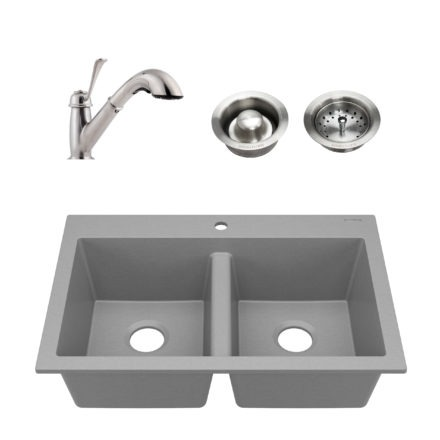 gray granite double bowl kitchen sink, faucet, and drains