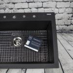 granite careiq kit, defend protective sealant, restore cleaning polish in camille black granite sink