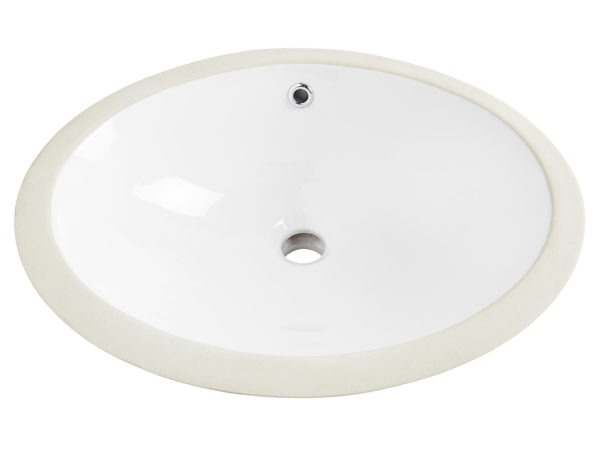 Louis Oval Undermount Vitreous China Bathroom Sink in White with Overflow Drain front angle view