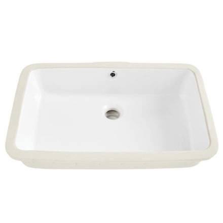 Carder Rectangle Undermount Vitreous China Bathroom Sink in White with Overflow Drain front angle view