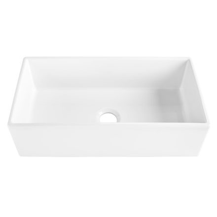 "Harper 36"" Farmhouse Fireclay kitchen sink front view"