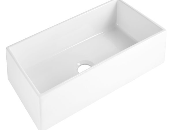 "Harper 36"" Farmhouse Fireclay kitchen sink angled"