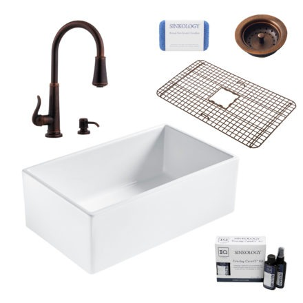 bradstreet II white fireclay sink, ashfield faucet, basket strainer drain, bottom grid, scrubber, and fireclay careIQ kit