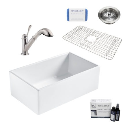 bradstreet II white fireclay sink, bixby faucet, basket strainer drain, bottom grid, scrubber, and fireclay careIQ kit