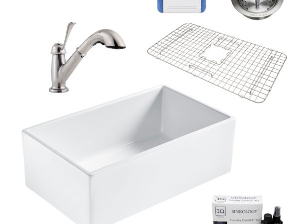 bradstreet II white fireclay sink, bixby faucet, basket strainer drain, bottom grid, scrubber, and fireclay careIQ kit