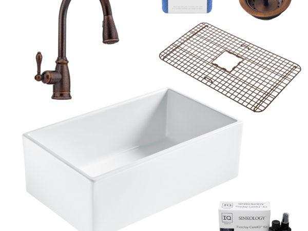 bradstreet II white fireclay sink, canton faucet, basket strainer drain, bottom grid, scrubber, and fireclay careIQ kit