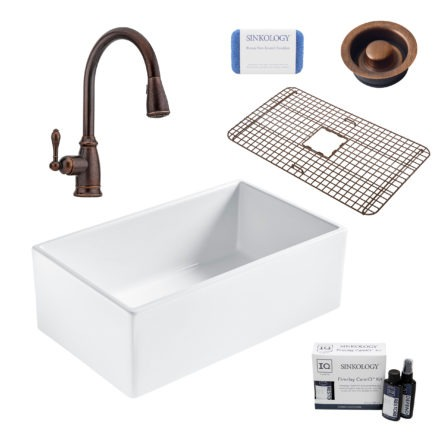 bradstreet II white fireclay sink, canton faucet, disposal drain, bottom grid, scrubber, and fireclay careIQ kit