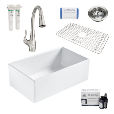 bradstreet II white fireclay sink, clarify faucet, basket strainer drain, bottom grid, scrubber, and fireclay careIQ kit