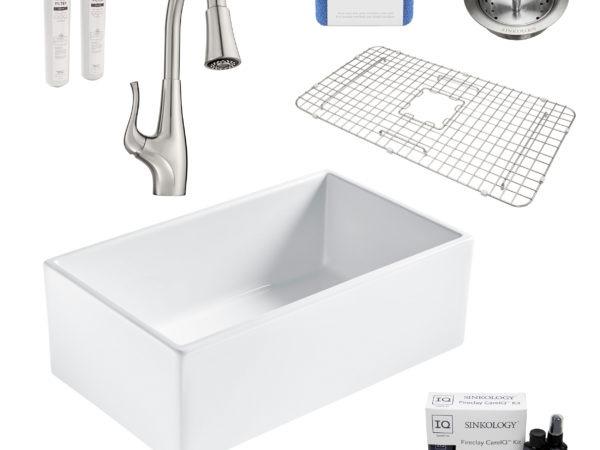 bradstreet II white fireclay sink, clarify faucet, basket strainer drain, bottom grid, scrubber, and fireclay careIQ kit