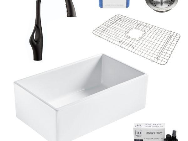 bradstreet II white fireclay sink, kai faucet, basket strainer drain, bottom grid, scrubber, and fireclay careIQ kit