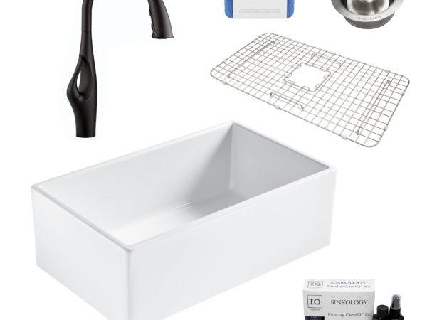 bradstreet II white fireclay sink, kai faucet, disposal drain, bottom grid, scrubber, and fireclay careIQ kit