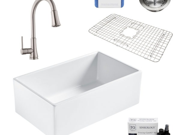 bradstreet II white fireclay sink, pfirst faucet, basket strainer drain, bottom grid, scrubber, and fireclay careIQ kit