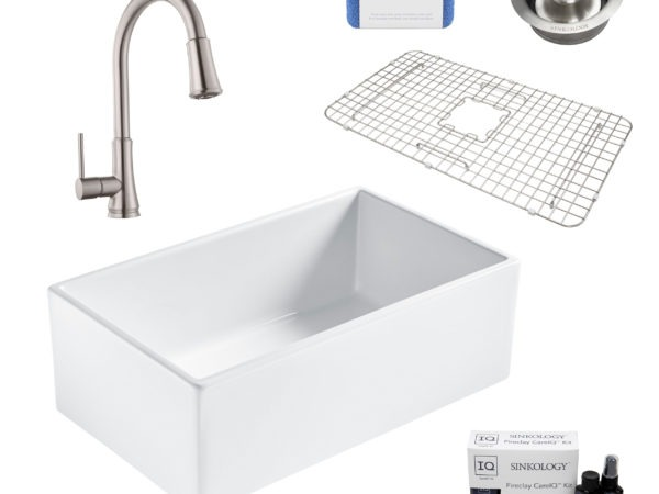 bradstreet II white fireclay sink, pfirst faucet, disposal drain, bottom grid, scrubber, and fireclay careIQ kit