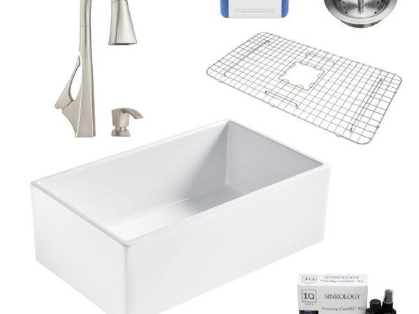 bradstreet II white fireclay sink, venturi faucet, basket strainer drain, bottom grid, scrubber, and fireclay careIQ kit