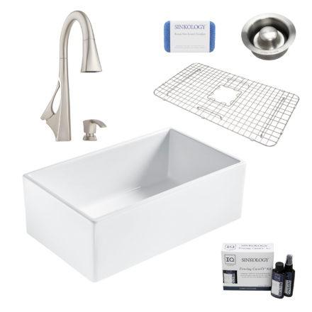 bradstreet II white fireclay sink, venturi faucet, disposal drain, bottom grid, scrubber, and fireclay careIQ kit