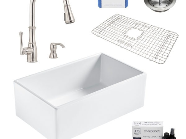 bradstreet II white fireclay sink, wheaton faucet, basket strainer drain, bottom grid, scrubber, and fireclay careIQ kit