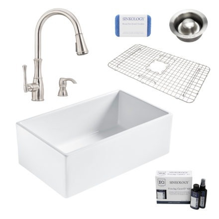 bradstreet II white fireclay sink, wheaton faucet, disposal drain, bottom grid, scrubber, and fireclay careIQ kit