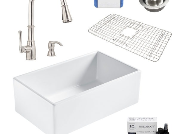 bradstreet II white fireclay sink, wheaton faucet, disposal drain, bottom grid, scrubber, and fireclay careIQ kit