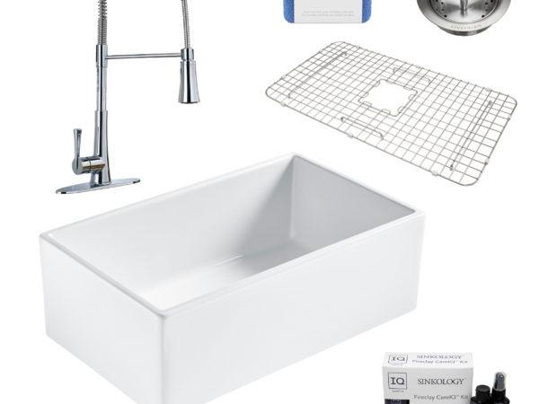 bradstreet II white fireclay sink, zuri faucet, basket strainer drain, bottom grid, scrubber, and fireclay careIQ kit