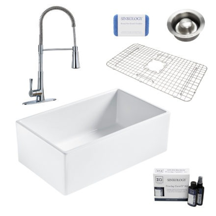 bradstreet II white fireclay sink, zuri faucet, disposal drain, bottom grid, scrubber, and fireclay careIQ kit
