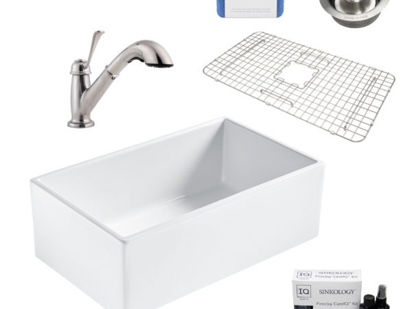 bradstreet II white fireclay sink, bixby faucet, disposal drain, bottom grid, scrubber, and fireclay careIQ kit