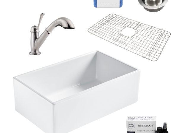 bradstreet II white fireclay sink, bixby faucet, disposal drain, bottom grid, scrubber, and fireclay careIQ kit
