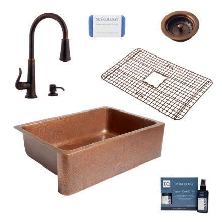 adams copper kitchen sink, ashfield rustic bronze faucet, bottom grid, basket strainer drain, copper care IQ kit, scrubber