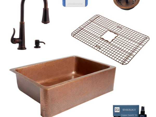 adams copper kitchen sink, ashfield rustic bronze faucet, bottom grid, basket strainer drain, copper care IQ kit, scrubber