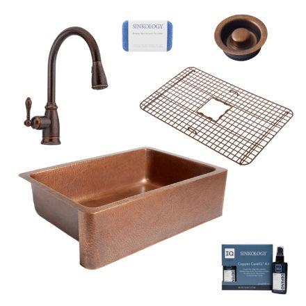 adams copper kitchen sink, canton rustic bronze faucet, bottom grid, disposal drain, copper care IQ kit, scrubber