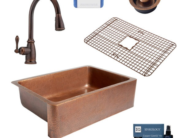 adams copper kitchen sink, canton rustic bronze faucet, bottom grid, disposal drain, copper care IQ kit, scrubber